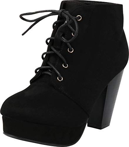 Forever Camille-86 Womens Comfort Stacked Chunky Heel Lace Up Ankle Booties,Black,7