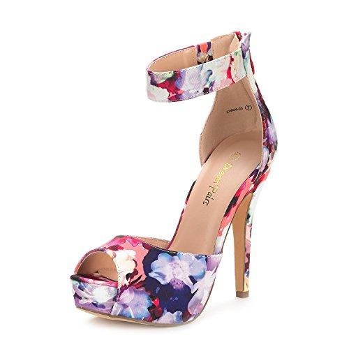 DREAM PAIRS Womens Swan-05 Floral High Heel Platform Dress Pump Shoes - 8.5 M US