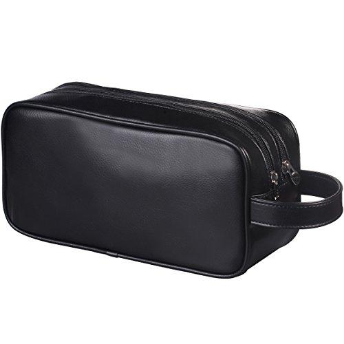HappyDavid Soft PU Leather Zipped Travel Toiletry Bag Mens Ladies Supply Toiletry Bag Case(Black)