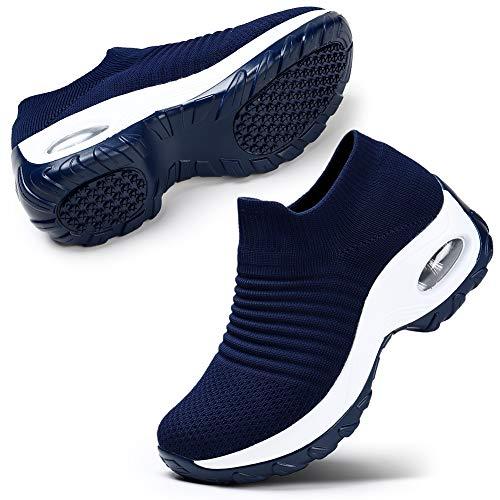 STQ Womens Running Shoes Sock-Like Free Transform Flyknit Sport Shoes Navy, 10